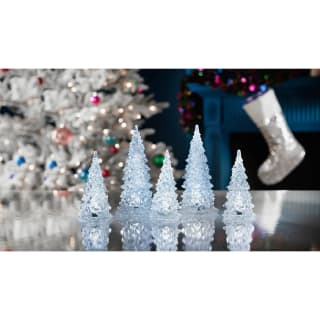 LED Crystal Light Up Christmas Trees - Cool White