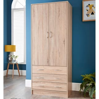Lokken Oak Finish 3 Drawer Double Wardrobe