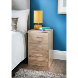 Lokken Oak Finish 3 Drawer Bedside Table