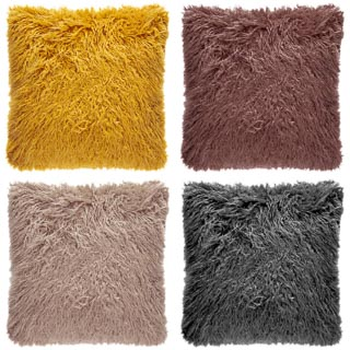Mongolian Faux Fur Cushion - Blush