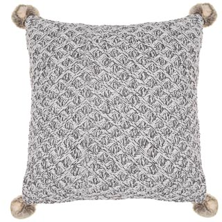 Knitted Faux Fur Pom Pom Cushion - Grey