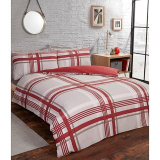 Check Twin Pack King Duvet Set - Red