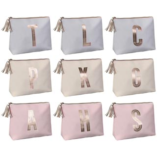 Foil Printed Alphabet Cosmetic Bag