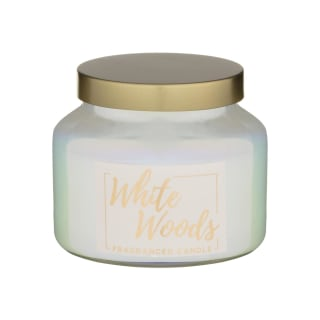 Pearlised Small Fragranced Candle - White Woods