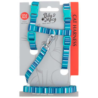 Billy & Macy Cat Harness - Blue Stripe