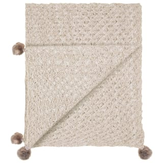 Knitted Faux Fur Pom Pom Throw - Natural