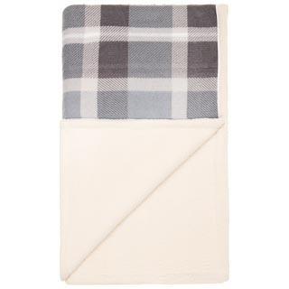 Luxury Oversized Check Blanket - Grey