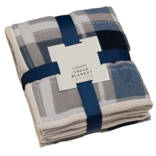 Luxury Check Blanket - Navy