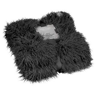 Faux Mongolian Throw - Charcoal