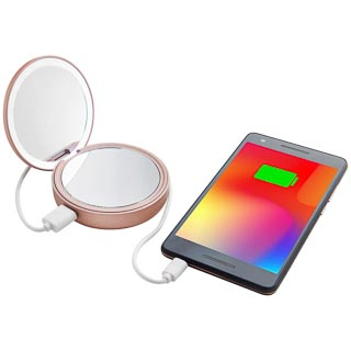 Goodmans Compact LED Mirror Power Bank - Rose Gold