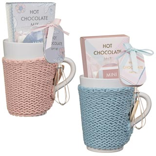Hot Chocolate Cosy Mug Set - Pink