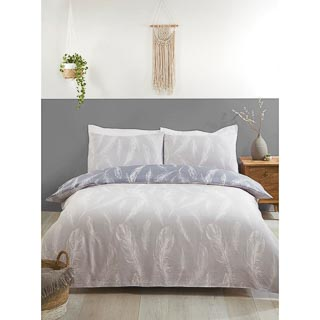 Grey Feather King Duvet Set