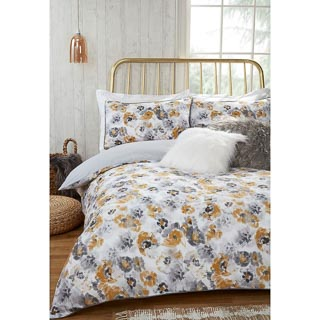 Ochre Floral Double Duvet Set