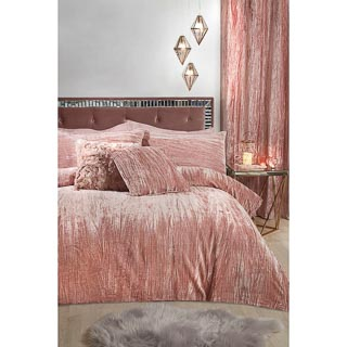 Paloma Crinkle Velvet King Duvet Set - Blush