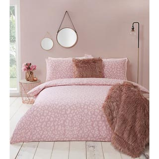 Leopard Print Blush Double Duvet Set