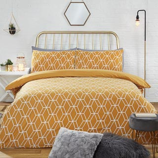 Geo Brushed Cotton Double Duvet Set - Ochre