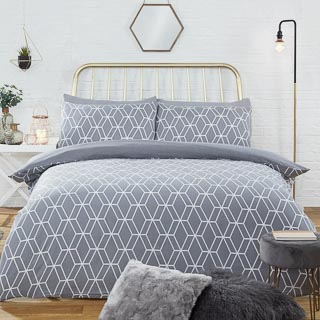 Geo Brushed Cotton King Size Duvet Set - Grey