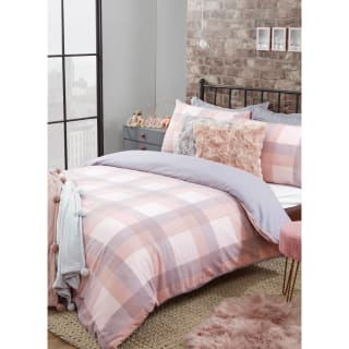 Cosy Check Brushed Cotton Double Duvet Set - Blush