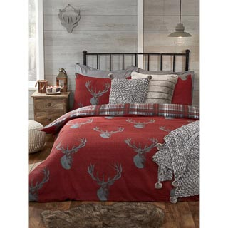 Red Stag Brushed Cotton King Size Duvet Set