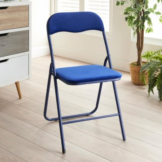 Luxe Velvet Folding Chair - Navy