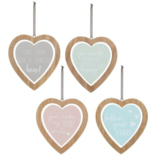 Heart Wooden Hanging Plaque - Happy