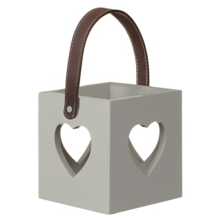 Heart Cutout Wooden Lantern - Grey