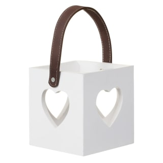 Heart Cutout Wooden Lantern - White
