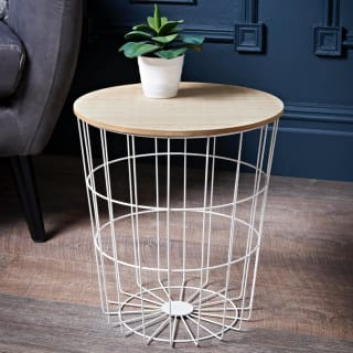 Tromso Basket Side Table - White