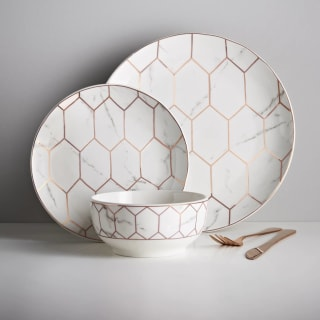 Marble & Rose Gold Dinner Set 12pc