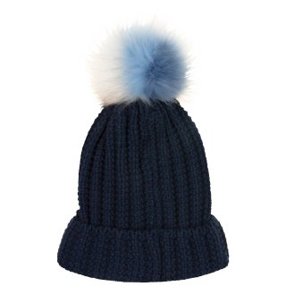 Ladies Pom Pom Hat - Navy