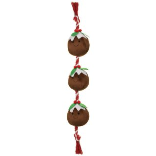 Food on a Rope Dog Toy - Christmas Puddings
