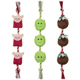 Food on a Rope Dog Toy - Pigs in Blankets