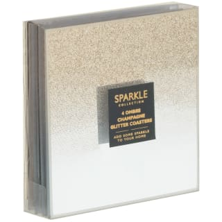 Sparkle Collection Ombre Champagne Glitter Coasters 4pk