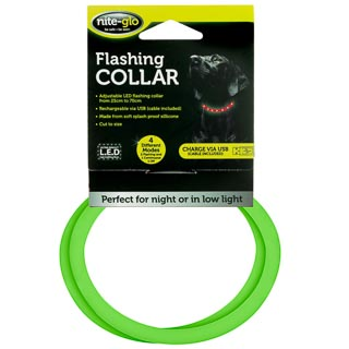 Nite-Glo Flashing Dog Collar - Green