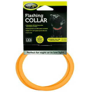 Nite-Glo Flashing Dog Collar - Orange