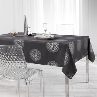 Metallic Wipe Clean Tablecloth 132 x 178cm - Charcoal