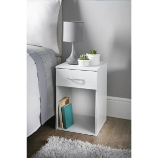Lokken 1 Drawer Bedside Table - White