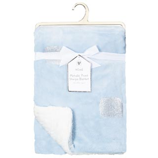 Metallic Print Sherpa Blanket - Blue