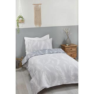 Grey Feather Single Duvet Set