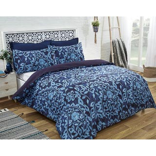 Paisley Twin Pack Double Duvet Set - Navy