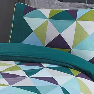 Geo Single Duvet Set - Teal
