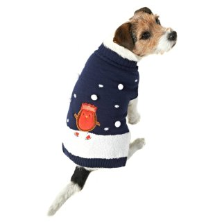 Robin Christmas Dog Jumper XS-S