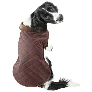 Quilted Dog Coat - X-Small & Small - Brown