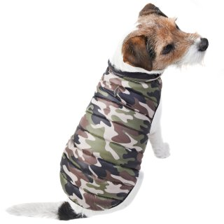 Puffer Dog Coat - X-Small - Medium - Green Camo