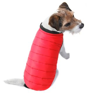 Puffer Dog Coat - X-Small - Medium - Red