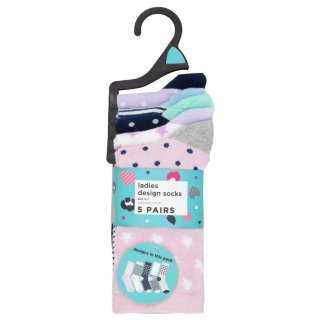 Ladies Pastel Design Socks 5pk
