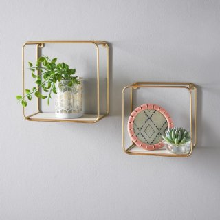 Tromso Set of 2 Wall Shelves - Gold