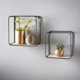 Tromso Set of 2 Wall Shelves - Black