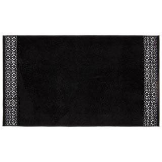 Signature Embroidered Border Hand Towel - Black