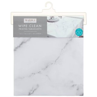 Grey Wipe Clean Printed Tablecloth 132 x 178cm - Marble